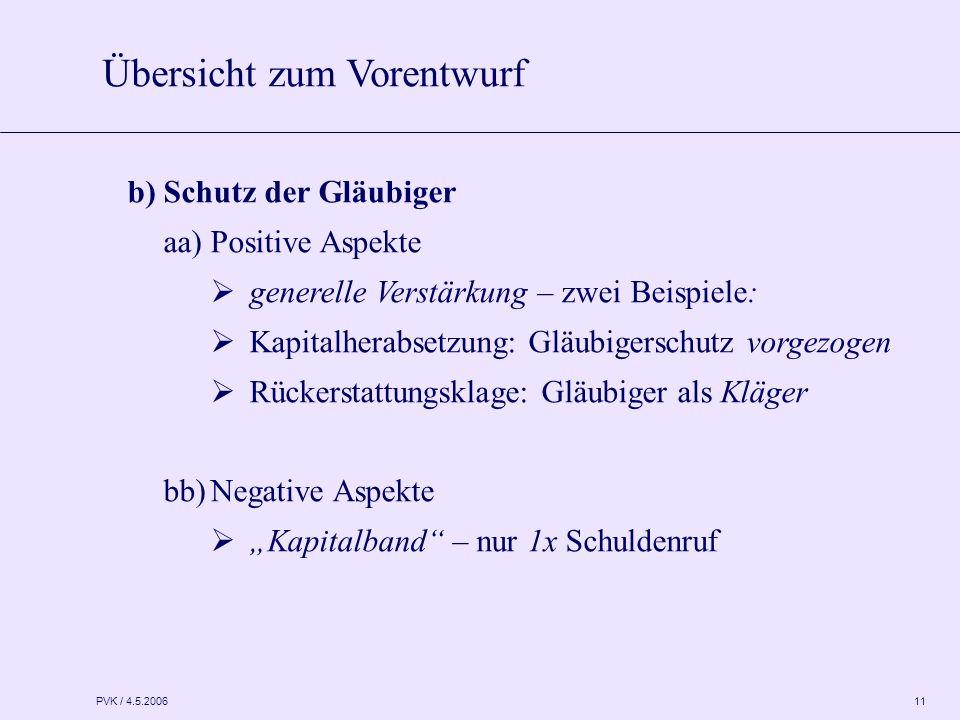 PVK / 4.5.2006 11 b) Schutz der Gläubiger aa)Positive Aspekte  generelle Verstärkung – zwei Beispiele:  Kapitalherabsetzung: Gläubigerschutz vorgezo