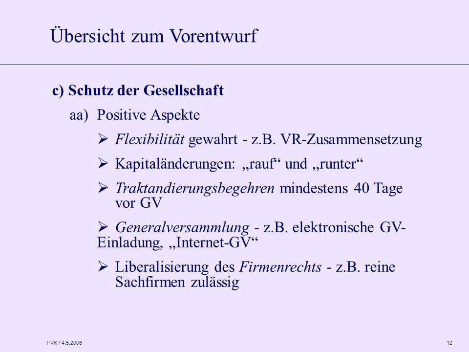 """PVK / 4.5.2006 12 c) Schutz der Gesellschaft aa)Positive Aspekte  Flexibilität gewahrt - z.B. VR-Zusammensetzung  Kapitaländerungen: """"rauf"""" und """"run"""