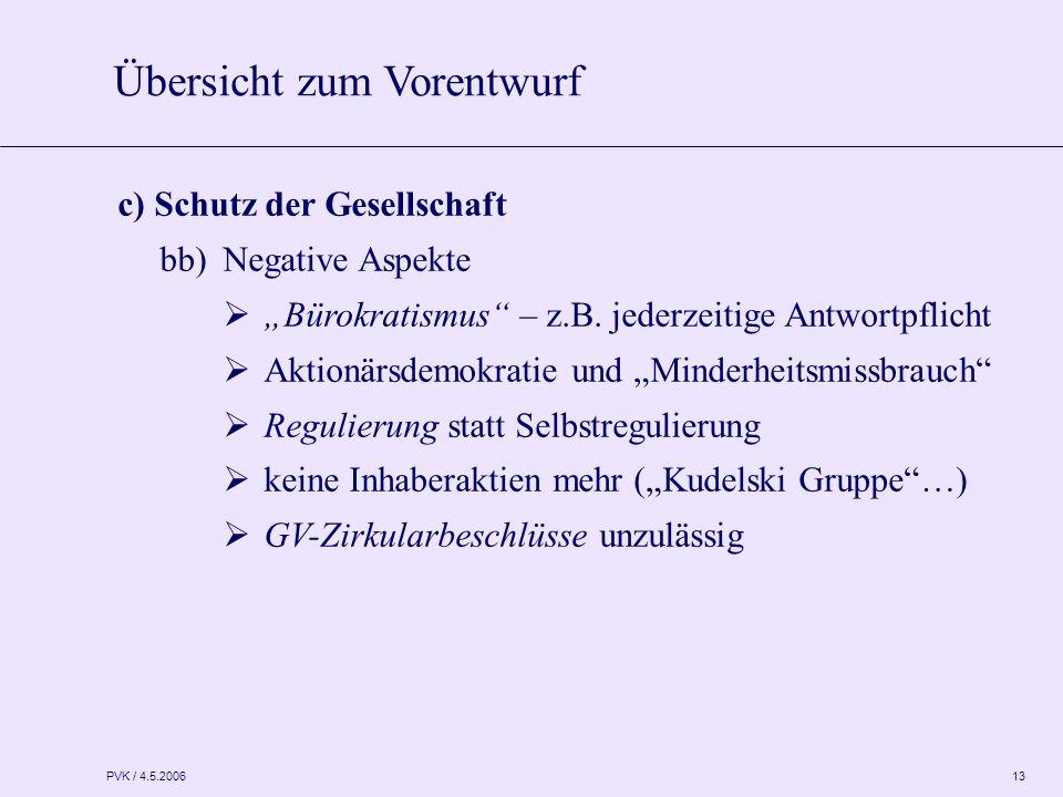 """PVK / 4.5.2006 13 c) Schutz der Gesellschaft bb)Negative Aspekte  """"Bürokratismus"""" – z.B. jederzeitige Antwortpflicht  Aktionärsdemokratie und """"Minde"""
