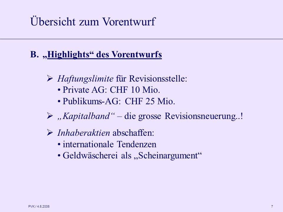 """PVK / 4.5.2006 7 B. """"Highlights"""" des Vorentwurfs  Haftungslimite für Revisionsstelle: Private AG: CHF 10 Mio. Publikums-AG: CHF 25 Mio.  """"Kapitalban"""