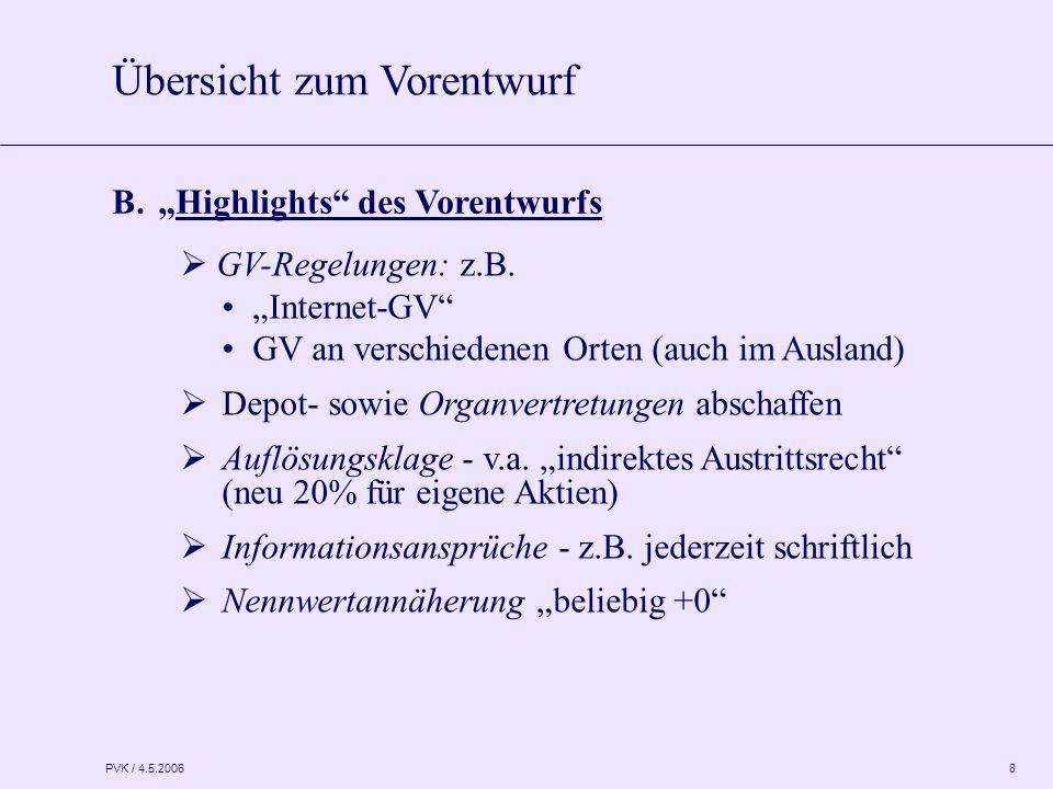 """PVK / 4.5.2006 8  GV-Regelungen: z.B. """"Internet-GV"""" GV an verschiedenen Orten (auch im Ausland)  Depot- sowie Organvertretungen abschaffen  Auflösu"""
