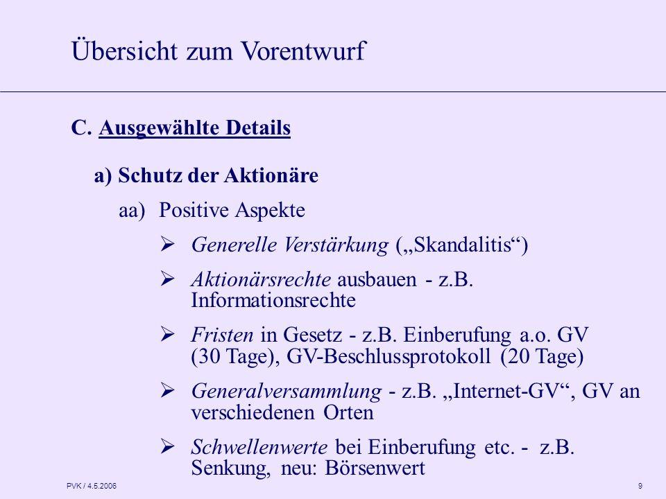 "PVK / 4.5.2006 9 C. Ausgewählte Details a) Schutz der Aktionäre aa)Positive Aspekte  Generelle Verstärkung (""Skandalitis"")  Aktionärsrechte ausbauen"