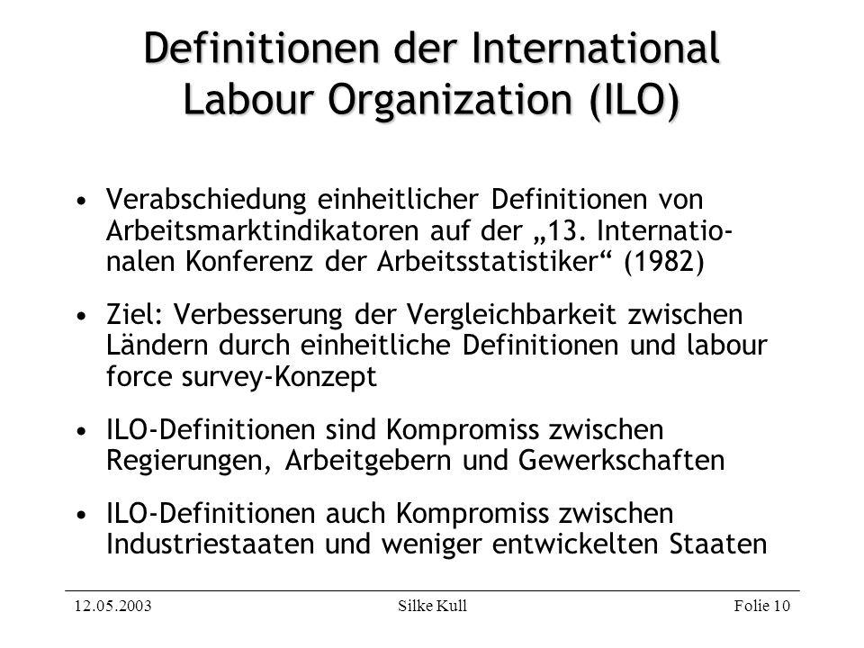 12.05.2003Silke KullFolie 10 Definitionen der International Labour Organization (ILO) Verabschiedung einheitlicher Definitionen von Arbeitsmarktindika