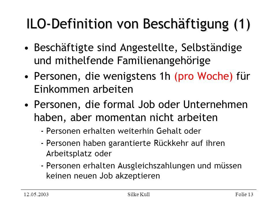 12.05.2003Silke KullFolie 13 ILO-Definition von Beschäftigung (1) Beschäftigte sind Angestellte, Selbständige und mithelfende Familienangehörige Perso