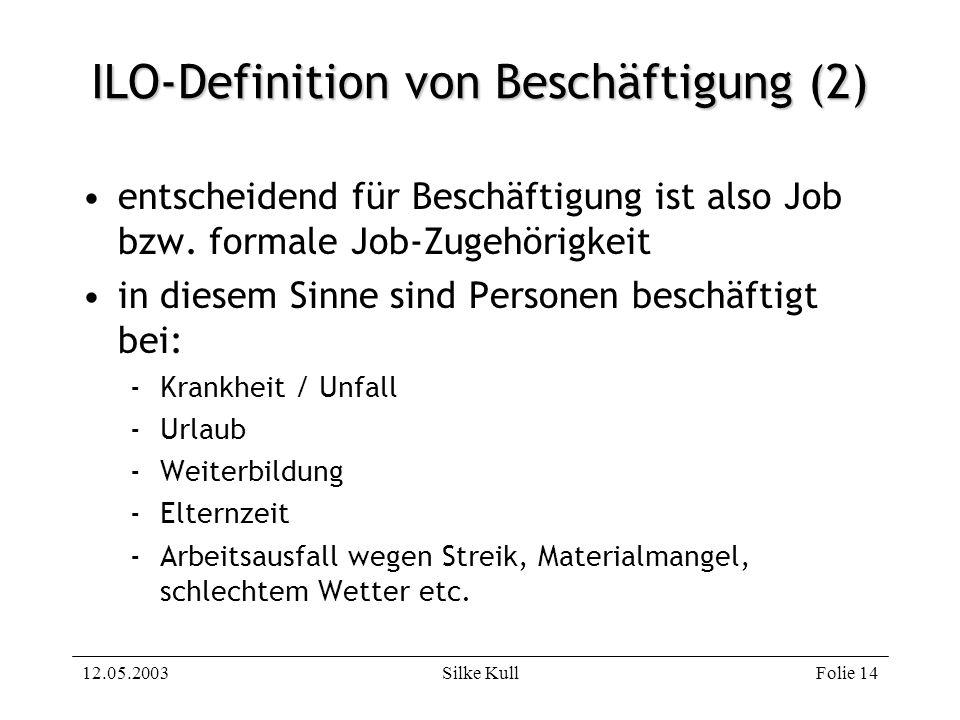 12.05.2003Silke KullFolie 14 ILO-Definition von Beschäftigung (2) entscheidend für Beschäftigung ist also Job bzw. formale Job-Zugehörigkeit in diesem