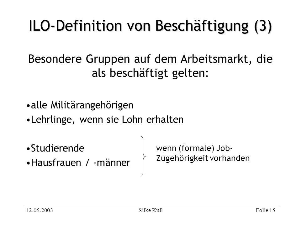 12.05.2003Silke KullFolie 15 ILO-Definition von Beschäftigung (3) Besondere Gruppen auf dem Arbeitsmarkt, die als beschäftigt gelten: alle Militärange