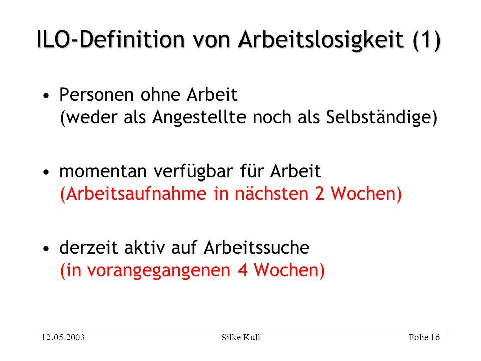 12.05.2003Silke KullFolie 16 ILO-Definition von Arbeitslosigkeit (1) Personen ohne Arbeit (weder als Angestellte noch als Selbständige) momentan verfü