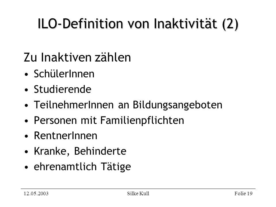 12.05.2003Silke KullFolie 19 ILO-Definition von Inaktivität (2) Zu Inaktiven zählen SchülerInnen Studierende TeilnehmerInnen an Bildungsangeboten Pers