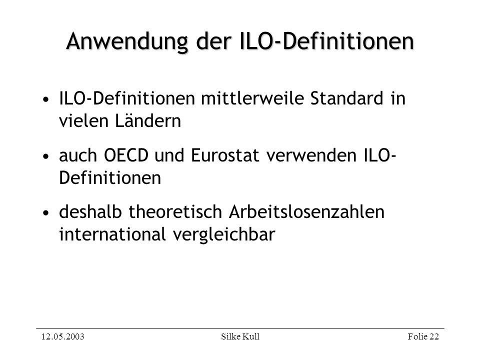 12.05.2003Silke KullFolie 22 Anwendung der ILO-Definitionen ILO-Definitionen mittlerweile Standard in vielen Ländern auch OECD und Eurostat verwenden