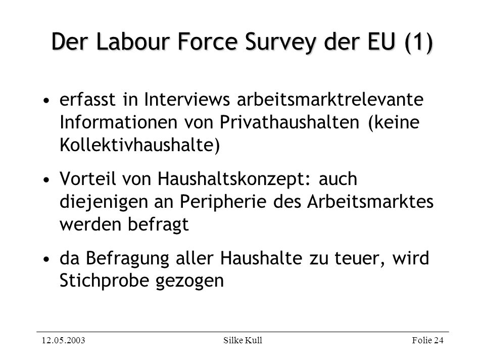 12.05.2003Silke KullFolie 24 Der Labour Force Survey der EU (1) erfasst in Interviews arbeitsmarktrelevante Informationen von Privathaushalten (keine