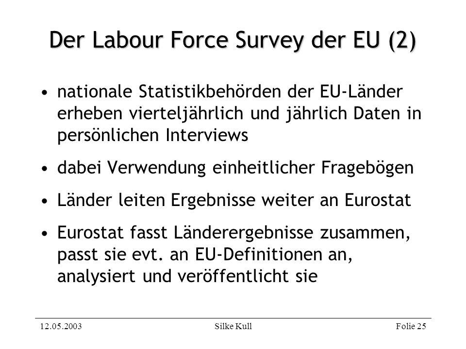 12.05.2003Silke KullFolie 25 Der Labour Force Survey der EU (2) nationale Statistikbehörden der EU-Länder erheben vierteljährlich und jährlich Daten i