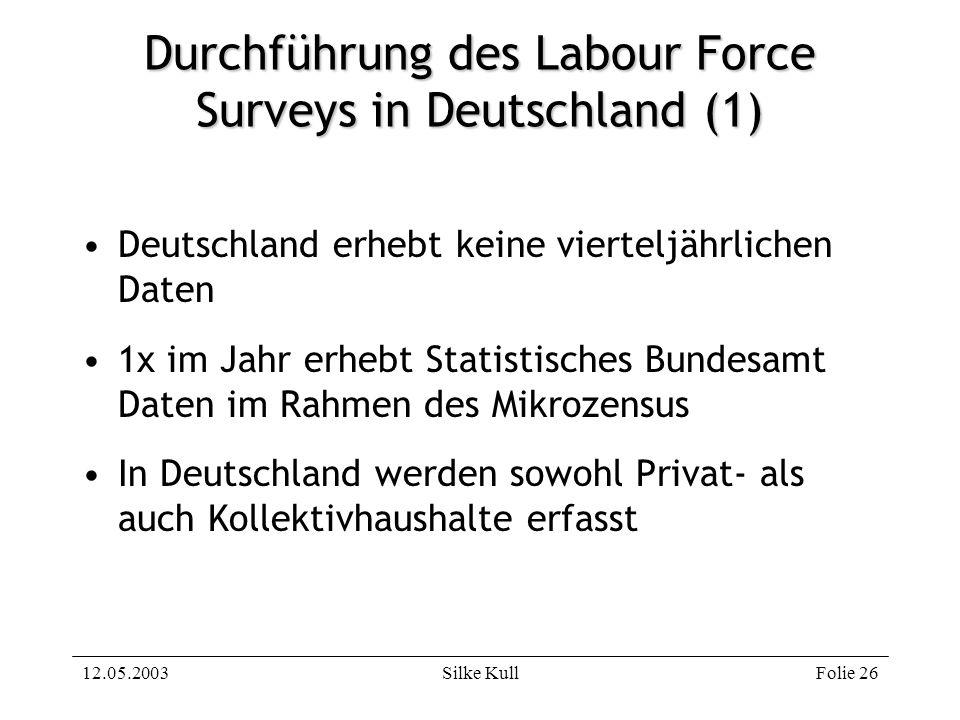12.05.2003Silke KullFolie 26 Durchführung des Labour Force Surveys in Deutschland (1) Deutschland erhebt keine vierteljährlichen Daten 1x im Jahr erhe