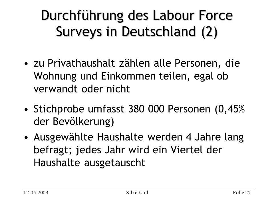 12.05.2003Silke KullFolie 27 Durchführung des Labour Force Surveys in Deutschland (2) zu Privathaushalt zählen alle Personen, die Wohnung und Einkomme
