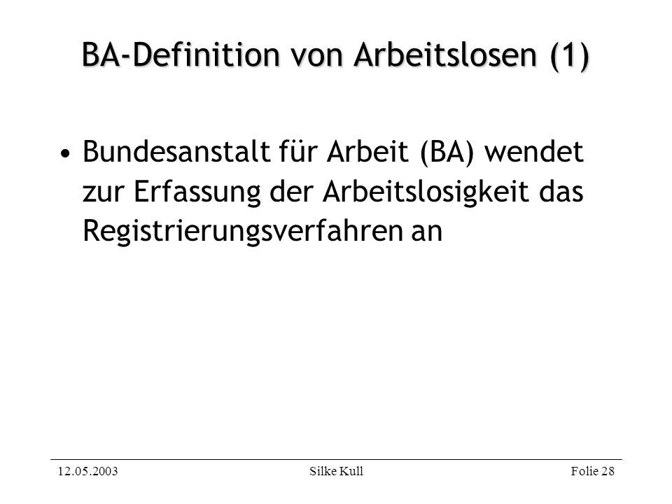 12.05.2003Silke KullFolie 28 BA-Definition von Arbeitslosen (1) Bundesanstalt für Arbeit (BA) wendet zur Erfassung der Arbeitslosigkeit das Registrier