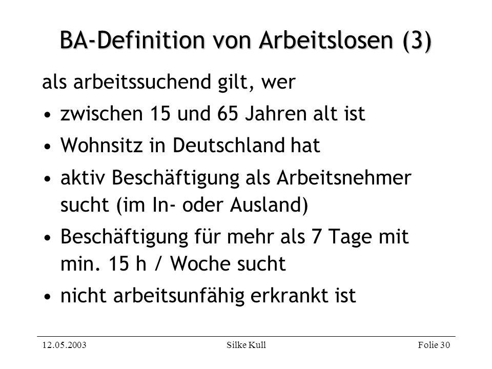 12.05.2003Silke KullFolie 30 BA-Definition von Arbeitslosen (3) als arbeitssuchend gilt, wer zwischen 15 und 65 Jahren alt ist Wohnsitz in Deutschland