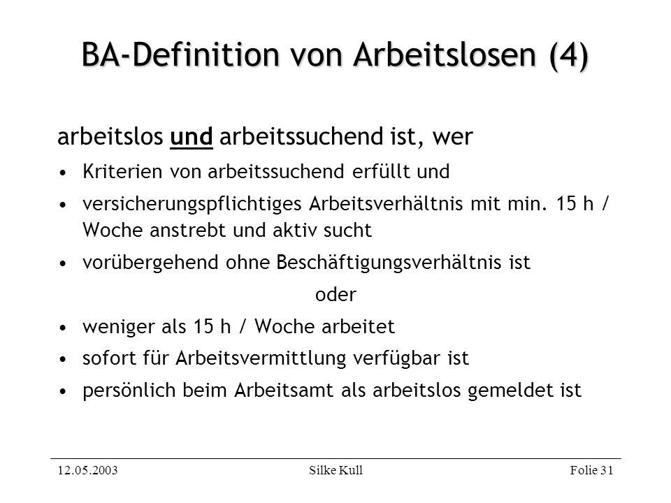 12.05.2003Silke KullFolie 31 BA-Definition von Arbeitslosen (4) arbeitslos und arbeitssuchend ist, wer Kriterien von arbeitssuchend erfüllt und versic