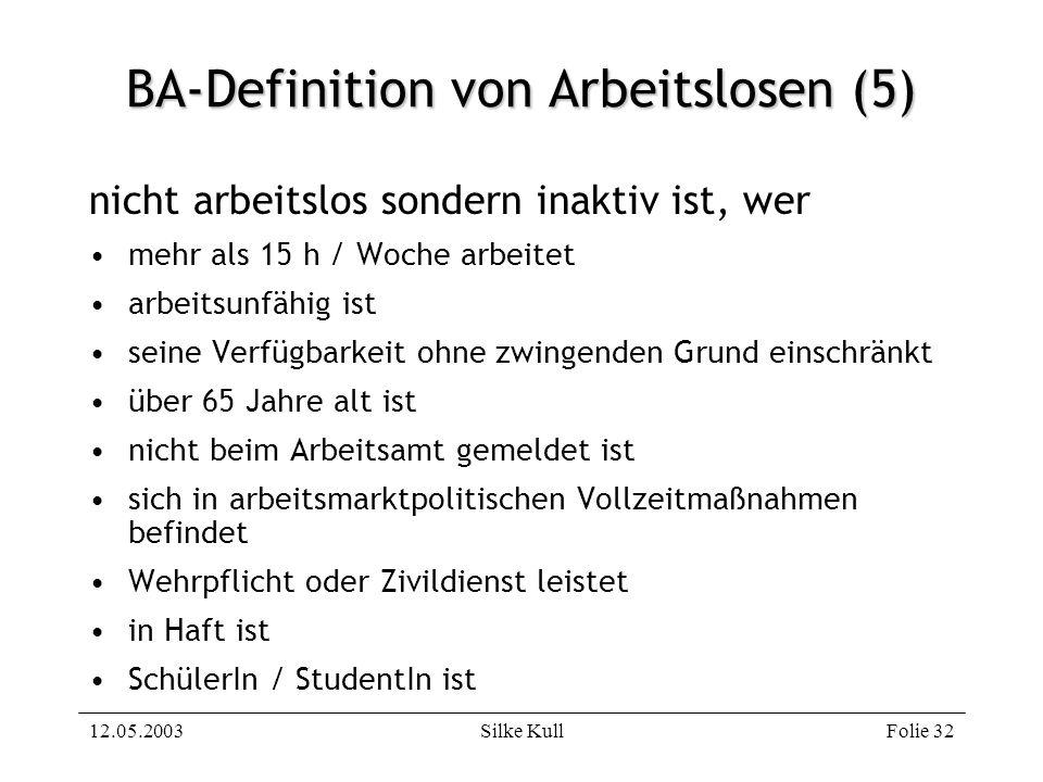 12.05.2003Silke KullFolie 32 BA-Definition von Arbeitslosen (5) nicht arbeitslos sondern inaktiv ist, wer mehr als 15 h / Woche arbeitet arbeitsunfähi