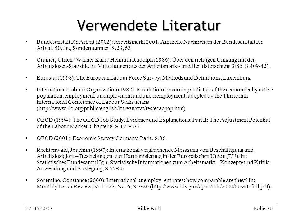 12.05.2003Silke KullFolie 36 Verwendete Literatur Bundesanstalt für Arbeit (2002): Arbeitsmarkt 2001. Amtliche Nachrichten der Bundesanstalt für Arbei