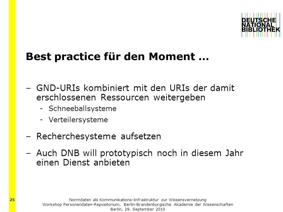 Normdaten als Kommunikations-Infrastruktur zur Wissensvernetzung Workshop Personendaten-Repositorium, Berlin-Brandenburgische Akademie der Wissenschaften Berlin, 29.