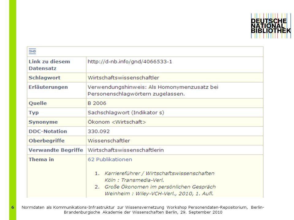 Normdaten als Kommunikations-Infrastruktur zur Wissensvernetzung Workshop Personendaten-Repositorium, Berlin- Brandenburgische Akademie der Wissenschaften Berlin, 29.
