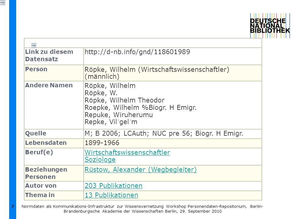 7 Link zu diesem Datensatz http://d-nb.info/gnd/118601989 Person Röpke, Wilhelm (Wirtschaftswissenschaftler) (männlich) Andere Namen Röpke, Wilhelm Röpke, W.