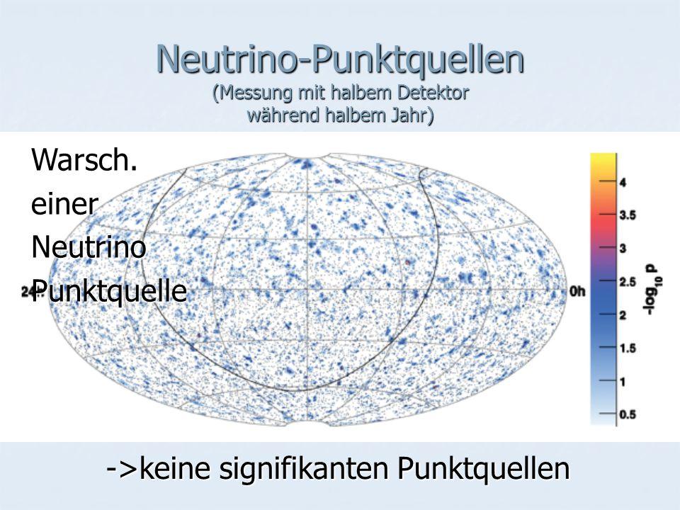 Neutrino-Punktquellen (Messung mit halbem Detektor während halbem Jahr) ->keine signifikanten Punktquellen Warsch.einerNeutrinoPunktquelle