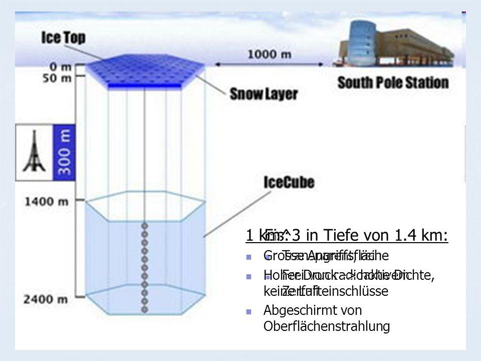 Eis: Transparent, rein Transparent, rein Frei von radioaktivem Zerfall Frei von radioaktivem Zerfall 1 km^3 in Tiefe von 1.4 km: Grosse Angriffsfläche Grosse Angriffsfläche Hoher Druck -> hohe Dichte, keine Lufteinschlüsse Hoher Druck -> hohe Dichte, keine Lufteinschlüsse Abgeschirmt von Oberflächenstrahlung Abgeschirmt von Oberflächenstrahlung