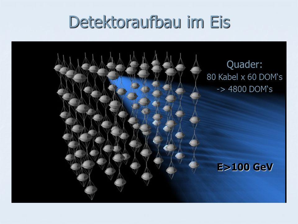 Detektoraufbau im Eis Quader: 80 Kabel x 60 DOM's -> 4800 DOM's E>100 GeV