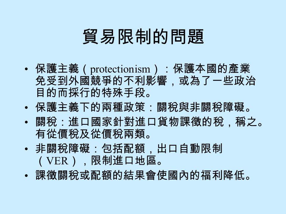 貿易限制的問題 保護主義( protectionism ):保護本國的產業 免受到外國競爭的不利影響,或為了一些政治 目的而採行的特殊手段。 保護主義下的兩種政策:關稅與非關稅障礙。 關稅:進口國家針對進口貨物課徵的稅,稱之。 有從價稅及從價稅兩類。 非關稅障礙:包括配額,出口自動限制 ( VER ),限制進口地區。 課徵關稅或配額的結果會使國內的福利降低。