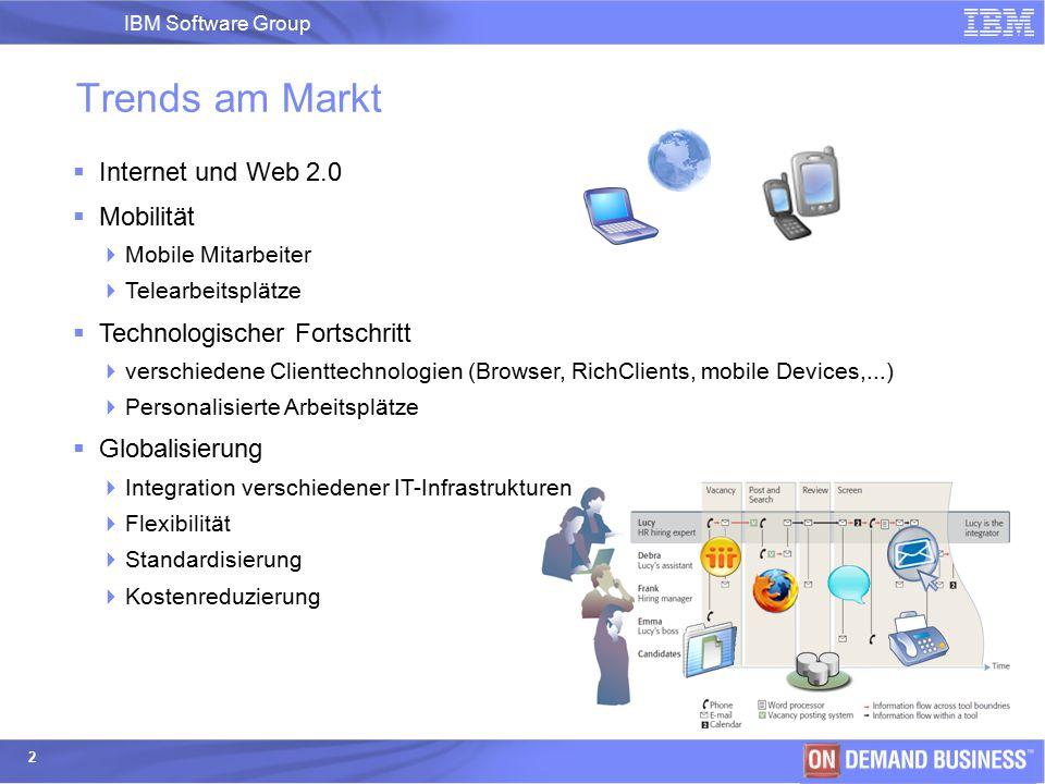 IBM Software Group | IBM Software Group 2 Trends am Markt  Internet und Web 2.0  Mobilität  Mobile Mitarbeiter  Telearbeitsplätze  Technologische