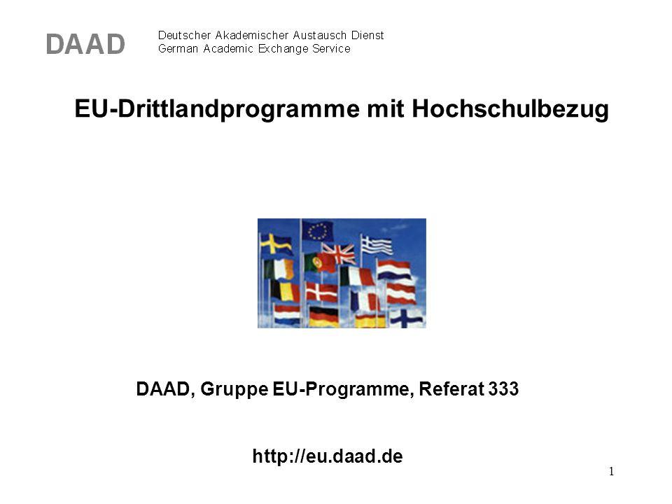1 EU-Drittlandprogramme mit Hochschulbezug DAAD, Gruppe EU-Programme, Referat 333 http://eu.daad.de
