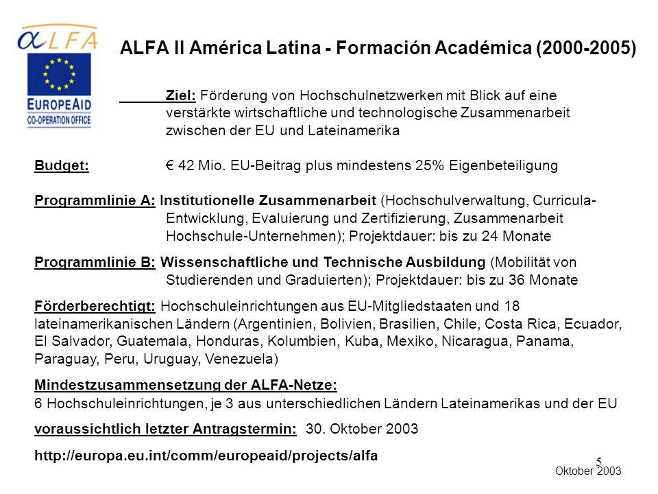5 ALFA II América Latina - Formación Académica (2000-2005) Ziel: Förderung von Hochschulnetzwerken mit Blick auf eine verstärkte wirtschaftliche und technologische Zusammenarbeit zwischen der EU und Lateinamerika Budget: € 42 Mio.