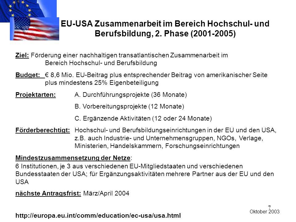 7 EU-USA Zusammenarbeit im Bereich Hochschul- und Berufsbildung, 2.