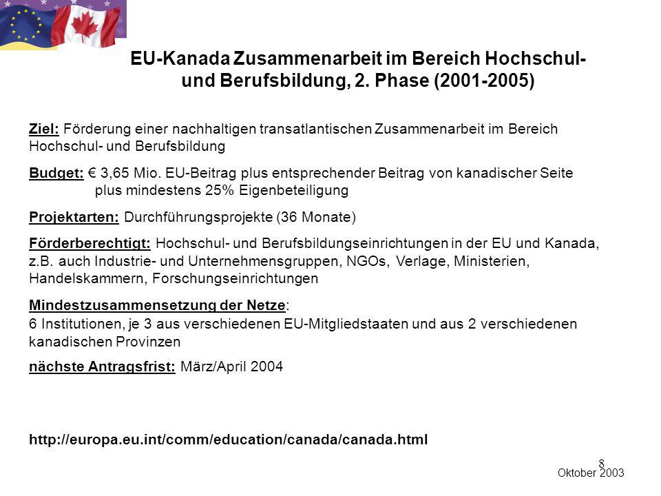 8 Ziel: Förderung einer nachhaltigen transatlantischen Zusammenarbeit im Bereich Hochschul- und Berufsbildung Budget: € 3,65 Mio.