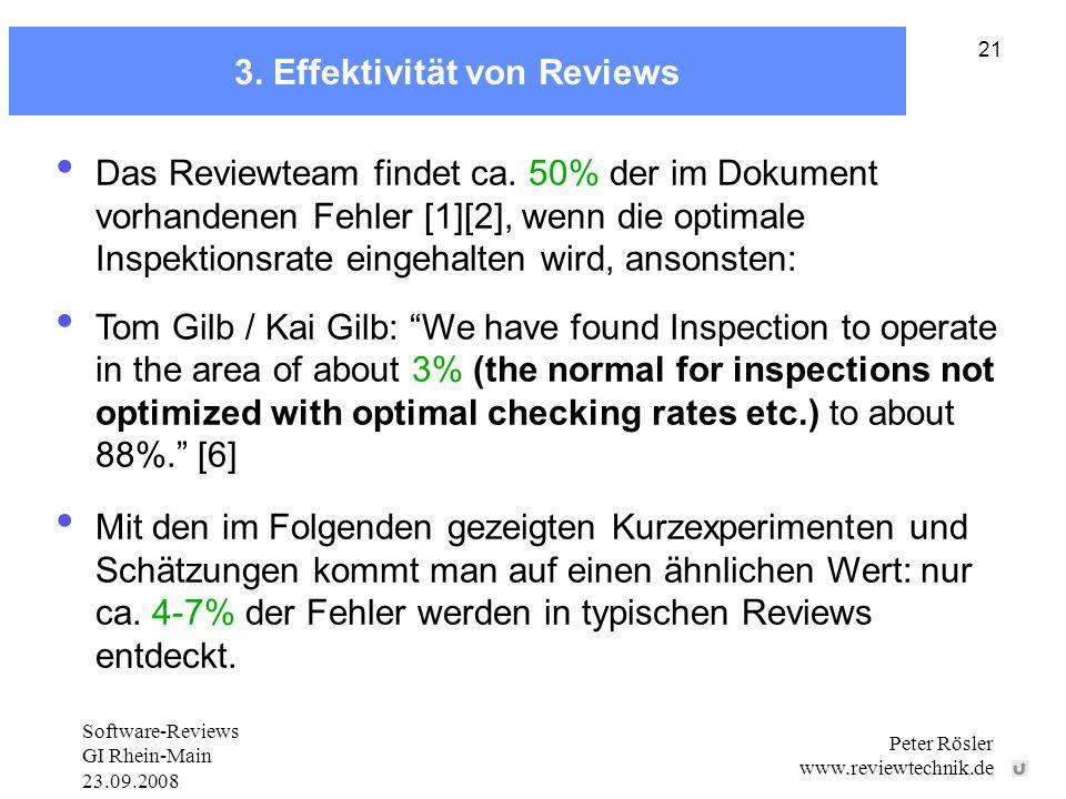 Software-Reviews GI Rhein-Main 23.09.2008 Peter Rösler www.reviewtechnik.de 21 3.