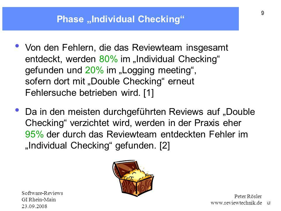 """Software-Reviews GI Rhein-Main 23.09.2008 Peter Rösler www.reviewtechnik.de 9 Phase """"Individual Checking Von den Fehlern, die das Reviewteam insgesamt entdeckt, werden 80% im """"Individual Checking gefunden und 20% im """"Logging meeting , sofern dort mit """"Double Checking erneut Fehlersuche betrieben wird."""