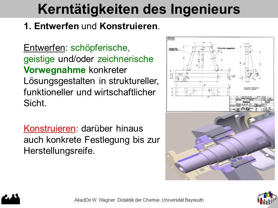 AkadDir W. Wagner, Didaktik der Chemie, Universität Bayreuth Kerntätigkeiten des Ingenieurs 1. Entwerfen und Konstruieren. Konstruieren: darüber hinau