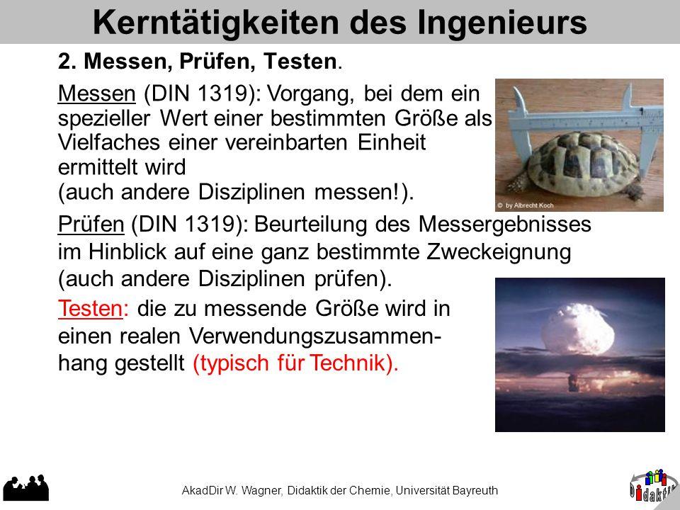 AkadDir W. Wagner, Didaktik der Chemie, Universität Bayreuth Kerntätigkeiten des Ingenieurs 2. Messen, Prüfen, Testen. Prüfen (DIN 1319): Beurteilung