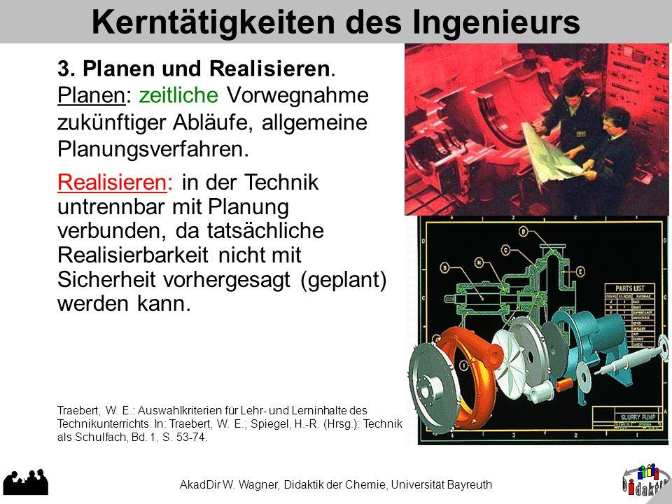 AkadDir W. Wagner, Didaktik der Chemie, Universität Bayreuth Planen: zeitliche Vorwegnahme zukünftiger Abläufe, allgemeine Planungsverfahren. Kerntäti