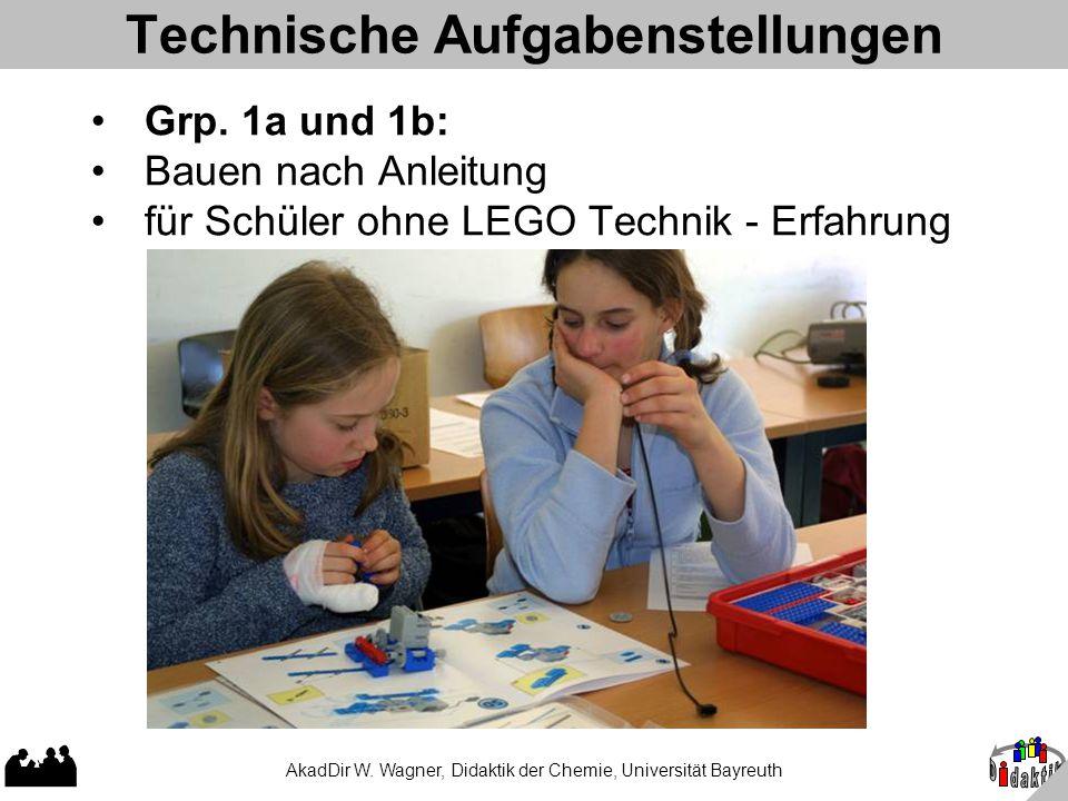 AkadDir W. Wagner, Didaktik der Chemie, Universität Bayreuth Technische Aufgabenstellungen Grp. 1a und 1b: Bauen nach Anleitung für Schüler ohne LEGO