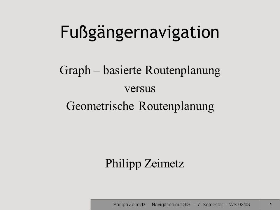 Philipp Zeimetz - Navigation mit GIS - 7. Semester - WS 02/031 Fußgängernavigation Graph – basierte Routenplanung versus Geometrische Routenplanung Ph