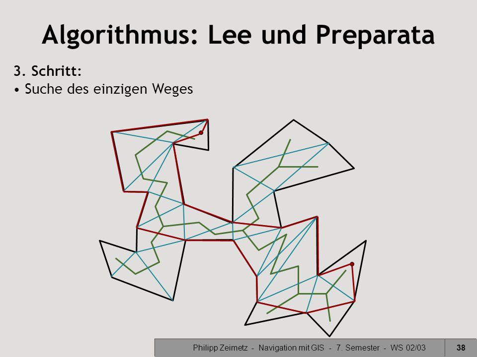 Philipp Zeimetz - Navigation mit GIS - 7. Semester - WS 02/0338 Algorithmus: Lee und Preparata 3. Schritt: Suche des einzigen Weges