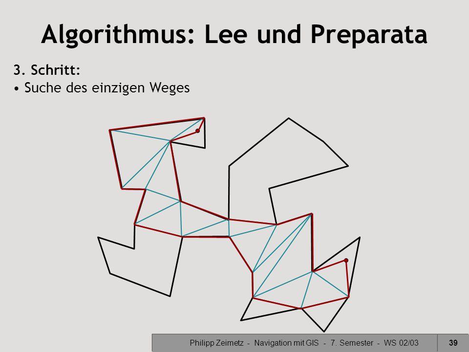 Philipp Zeimetz - Navigation mit GIS - 7. Semester - WS 02/0339 Algorithmus: Lee und Preparata 3. Schritt: Suche des einzigen Weges