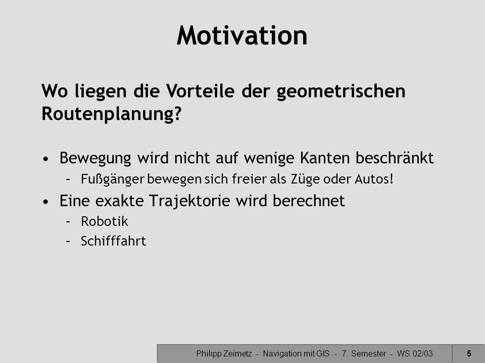 Philipp Zeimetz - Navigation mit GIS - 7. Semester - WS 02/035 Motivation Bewegung wird nicht auf wenige Kanten beschränkt –Fußgänger bewegen sich fre