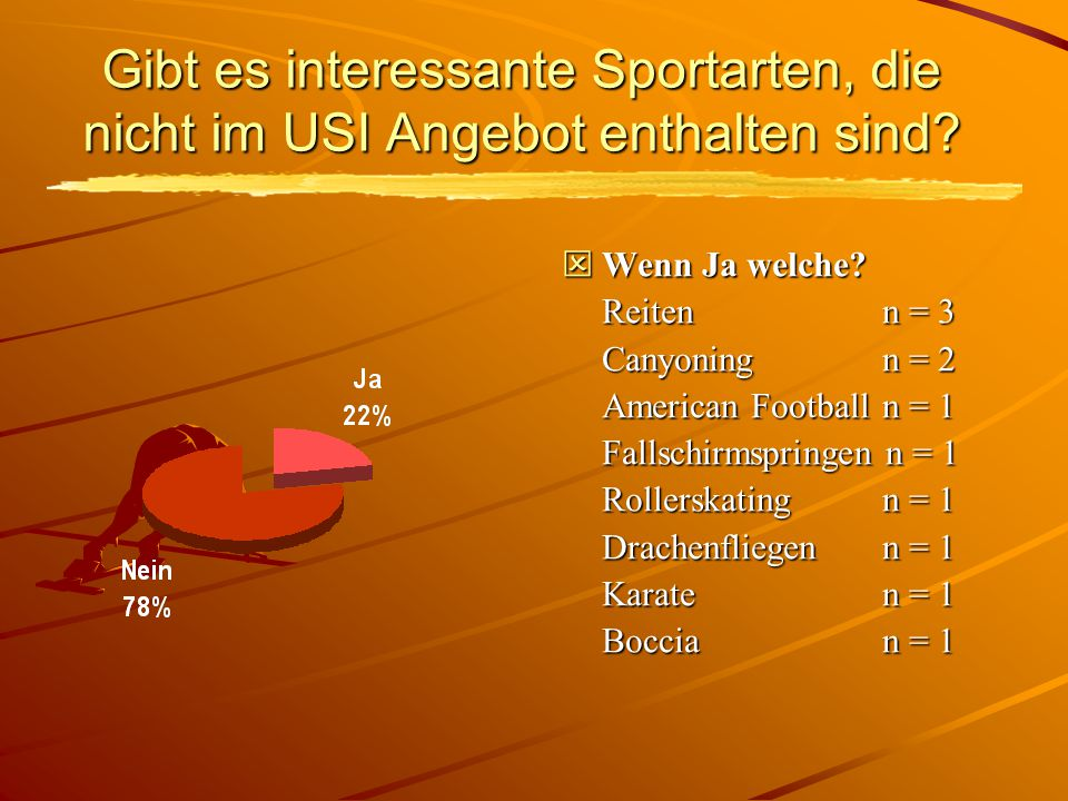 Gibt es interessante Sportarten, die nicht im USI Angebot enthalten sind.