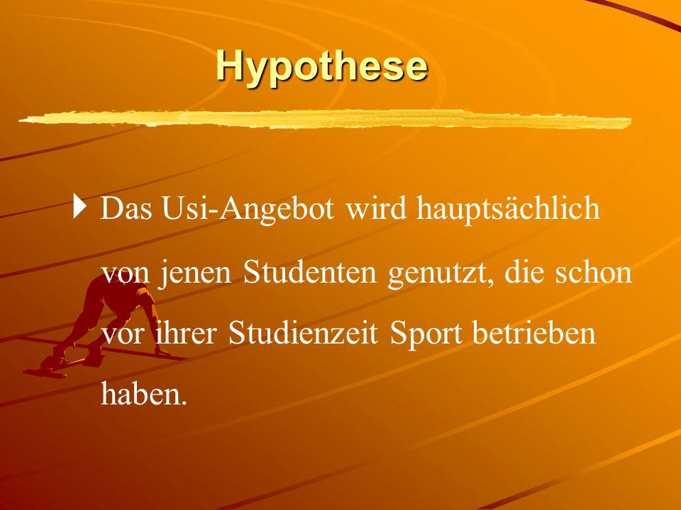 Hypothese  Das Usi-Angebot wird hauptsächlich von jenen Studenten genutzt, die schon vor ihrer Studienzeit Sport betrieben haben.