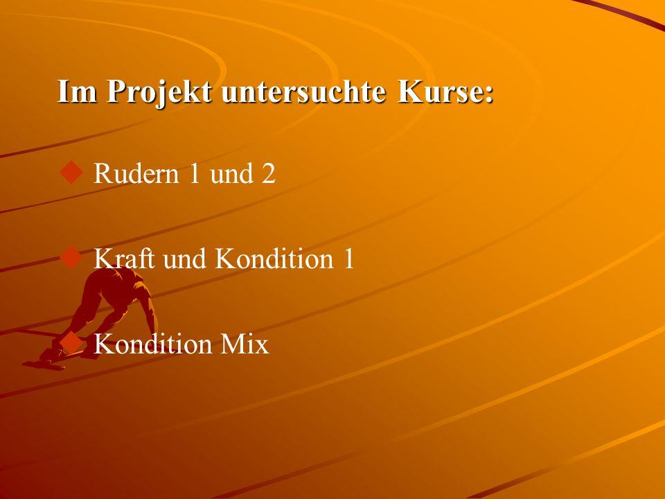 Im Projekt untersuchte Kurse: u Rudern 1 und 2 u Kraft und Kondition 1 u Kondition Mix