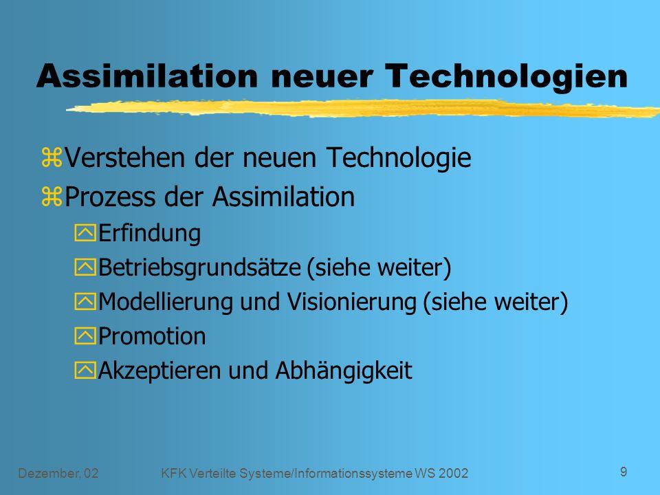Dezember, 02KFK Verteilte Systeme/Informationssysteme WS 2002 9 Assimilation neuer Technologien zVerstehen der neuen Technologie zProzess der Assimila