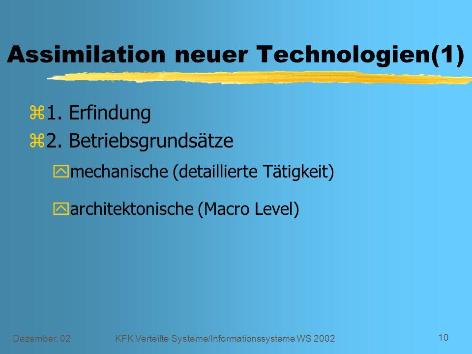 Dezember, 02KFK Verteilte Systeme/Informationssysteme WS 2002 10 Assimilation neuer Technologien(1) z1. Erfindung z2. Betriebsgrundsätze ymechanische