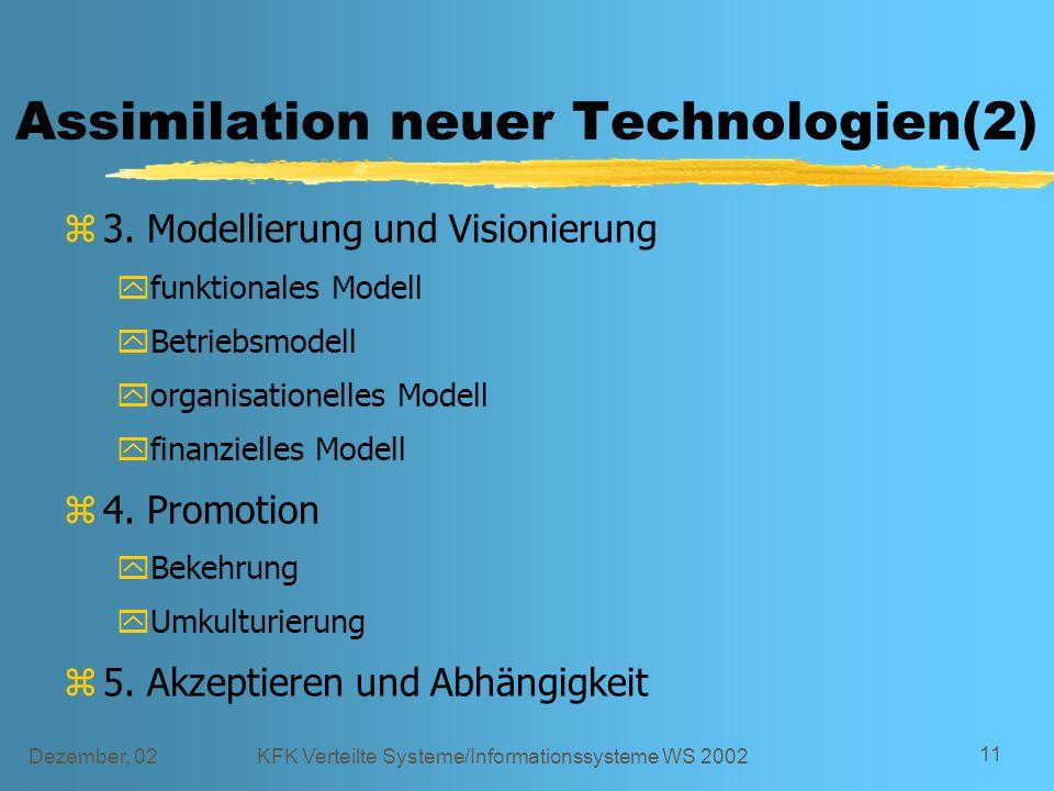 Dezember, 02KFK Verteilte Systeme/Informationssysteme WS 2002 11 Assimilation neuer Technologien(2) z3. Modellierung und Visionierung yfunktionales Mo